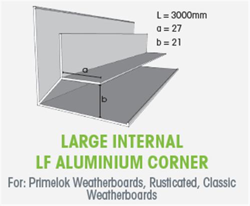 WTEX LARGE INTERNAL LF ALUMINIUM CORNER 3000mm | Agnew Building Supplies