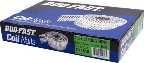 DUO-FAST  0° HD GALVANISED DUO COIL  RING NAIL PK1800 - 2.5 x 50mm