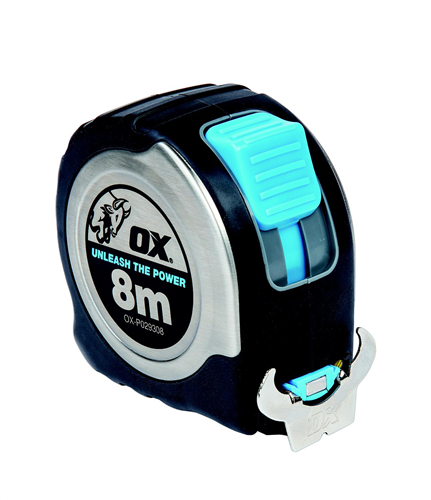 TAPE MEASURE STAINLESS STEEL OX PRO 8m