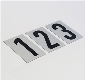 SANDLEFORD NUMERAL / NUMBER BLACK ON SILVER SELF ADHESIVE 55 X 85MM