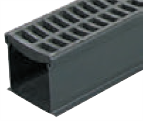 RAIN DRAIN - 1000mm COMPLETE WITH BLACK GRATE & JOINER