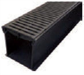 RAIN DRAIN - 1000mm COMPLETE WITH BLACK HEELGUARD GRATE & JOINER