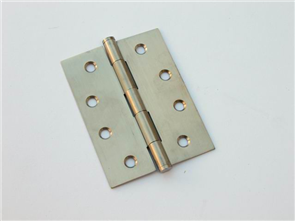 HINGE BUTTON TIPPED LOOSE PIN SATIN STAINLESS STEEL PAIR 100 x 75 x 1.5mm