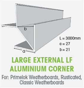 WTEX LARGE EXTERNAL LF ALUMINIUM CORNER 3000mm