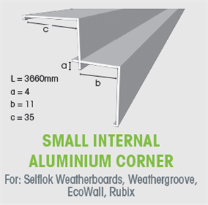 WTEX SMALL INTERNAL ALUMINIUM CORNER 3660mm