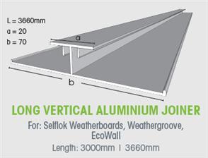 WTEX LONG VERTICAL ALUMINIUM JOINER 9.5mm x 3660mm