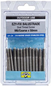 BALUSTRADE SCREW DUAL THREAD #316 STAINLESS STEEL 6 X 50mm