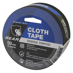 TAPE BEAR CLOTH 50mm x 25M BLACK