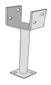 POST SUPPORT U PLATE GALVANISED 135mm w / - 300mm LEG