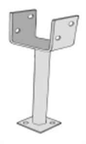 POST SUPPORT U PLATE GALV 90mm w/- 300mm LEG