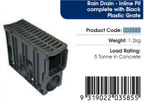 RELN RAIN DRAIN INLINE PIT COMPLETE WITH GRATE
