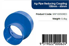 AGFLO 65mm REDUCING COUPLING from 100mm