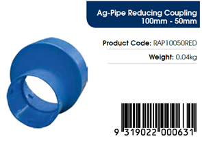AGFLO 100mm REDUCING COUPLING to 50mm