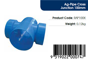 AGFLO 100mm CROSS JUNCTION