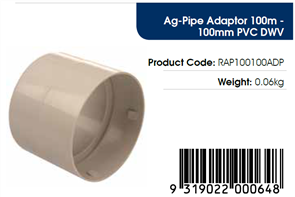 AGFLO 100mm ADAPTOR to 100mm PVC