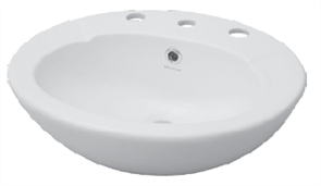 BASIN VANITY AVON 3TH SEMI RECESSED PLASTIC P&W 495 X 420mm