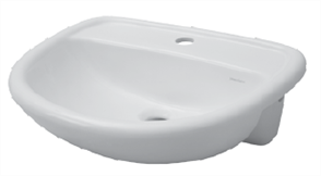 BASIN SEMI RECESSED MILANO 1TH PLASTIC P&W 520 X 430mm
