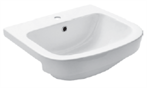 BASIN SEMI RECESSED LIFE 1TH  PLASTIC P&W 525 X 470mm