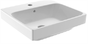 BASIN SEMI INSET GEMELLI RECT. 1TH POP UP WASTE 450 X 410mm