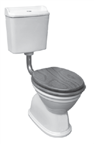 TOILET SUITE COLONIAL FEATURE S TRAP CHROME (WHITE SEAT)