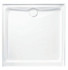 SHOWER BASE EVO POLYMARBLE WHITE REAR OUTLET SQ ANTI SKID 900 X 900mm