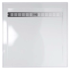SHOWER BASE BAROSSA POLYMARBLE WHITE REAR OUTLET SS GRATE