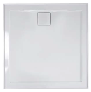SHOWER BASE DAINTREE POLYMARBLE WHITE REAR OUTLET