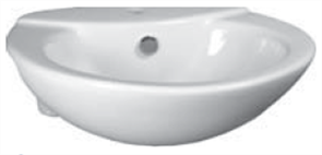 BASIN SEMI RECESSED JULIA  1TH CHR. P&W 500 x 445mm