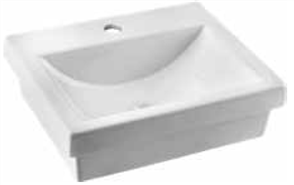 BASIN SEMI INSET QUADO 1TH POP UP WASTE 410 X 340mm