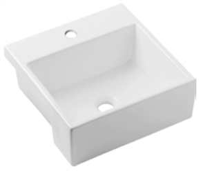 BASIN SEMI RECESSED QUADO III 1TH POP UP WASTE 410 X 410mm