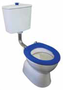 TOILET SUITE PLAZA ASSIST DELUXE VC LINK INCL BLUE SF SEAT & RAISED BLUE BUTTON S TRAP