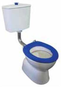 TOILET SUITE PLAZA ASSIST DELUXE VC LINK INCL BLUE SF SEAT & RAISED BLUE BUTTON S TRAP