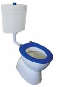 TOILET SUITE ELECT ASSIST DELUXE PLASTIC LINK INCL BLUE SF SEAT & RAISED BLUE BUTTON S TRAP