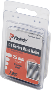 PASLODE  18GA C1 SERIES STAINLESS STEEL BRADS PK2000 - 25mm