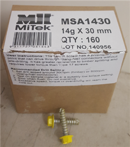 MITEK ANTI SPLIT SELF DRILLING SCREW PK160 - 14 x 30mm