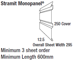 WALL SHEETING - MONOPANEL (covers 250mm) 0.48BMT