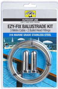 BALUSTRADE WIRE / CABLE KIT 3M #316 STAINLESS STEEL W/- 2 x BULLET HEAD / CLAMP FITTINGS