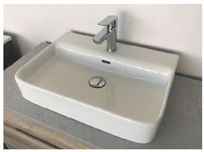 BASIN HENLEY WALL HUNG or INSET WHITE 1 TAP HOLE