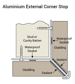 WOOD ELEMENTS ALUM EXTERNAL CORNER STOP (2 x FITTED GASKETS) 3600mm