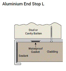 WOOD ELEMENTS ALUM END STOP (2 x FITTED GASKETS) 3600mm