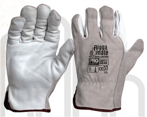 GLOVES LEATHER RIGGAMATE COWGRAIN GREY LARGE