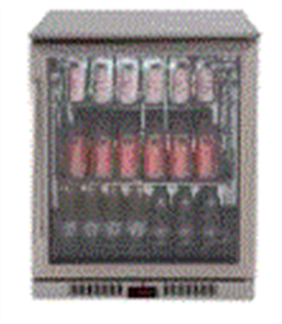 EURO BEVERAGE COOLER 138LT SINGLE DOOR + LOW E GLASS + SPRING BACK DOOR +LEFT HAND HINGE STAINLESS STEEL FRAME