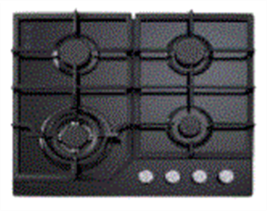EURO COOKTOP 60CM 4 BURNER GAS + WOK + FLAME FAILURE + CAST IRON TRIVETS +  GLASS HOB BLACK GLASS