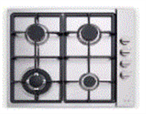 EURO COOKTOP 60CM 3 BURNER GAS  + WOK + CAST IRON FFD STAINLESS STEEL