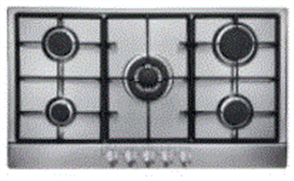 EURO COOKTOP 90CM 5 BURNER GAS + WOK BURNER + CAST + FFD STAINLESS STEEL