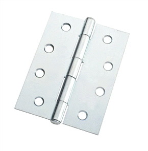 HINGE STEEL BUTT FIXED PIN ZINC PLATED W / -SCREWS PAIR 100 x 75 x 1.6mm