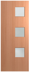 HUME DOOR BFR1 BUSH FIRE RESISTANT (BAL29) (SPM) MAPLE (STAIN GRADE) (BEADING BOTH SIDES) GLAZED FROSTED 2040 X 820 X 40mm