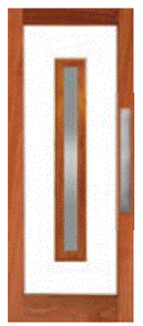 CORINTHIAN DOOR LUMINA LUM 1S MERBAU VENEERED GLAZED CLEAR 2040 x 820 x 40mm