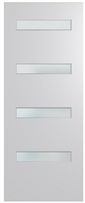 HUME DOOR BFR4 BUSH FIRE RESISTANT (BAL29) DURACOTE (TEMPERED HARDBOARD) GLAZED 6mm FROSTED 2040 x 820 x 40mm