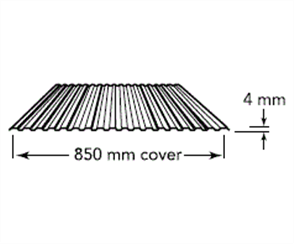 WALL SHEETING - MINIRIB / PANELRIB 4mm (covers 850mm) 0.35BMT